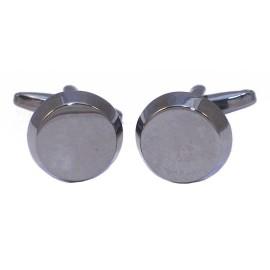 Stainless steel men's cufflinks in black round color MAT136
