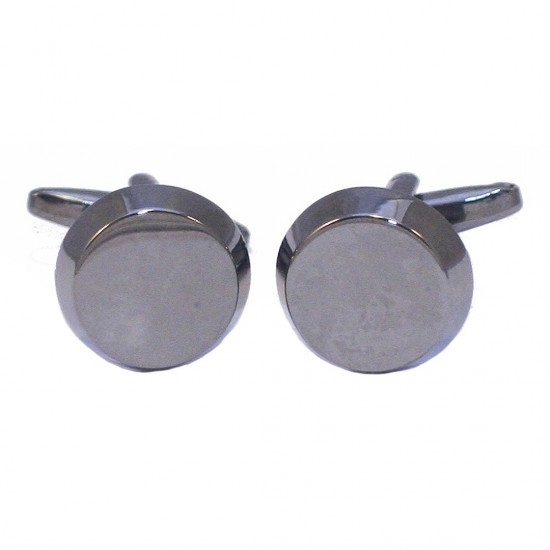Stainless steel men's cufflinks in black round color MAT136