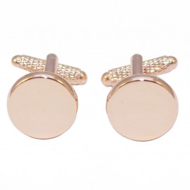 Men's Cufflinks Stainless Steel in color Gold Round  MAT125