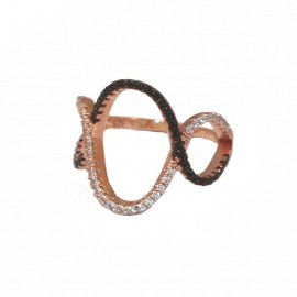 Silver ring rose gold plated with white and black zircon No. 52