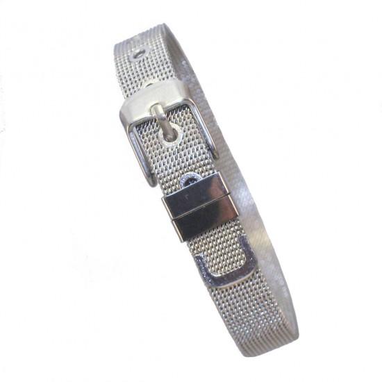 Stainless steel bracelet with belt design in white color SB573