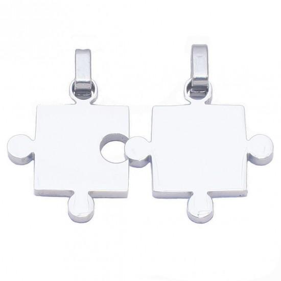 Μενταγιόν puzzle από ανοξείδωτο ατσάλι για το αγόρι και το κορίτσι το άλλο μου μισό SP948