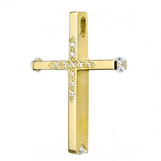 Cross gold K14 with two-color lacquer and mat on the sides with white zircon for christening 3546