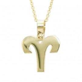Κολιέ χρυσό Κ9 με ζώδιο Κριός με καδένα 125138