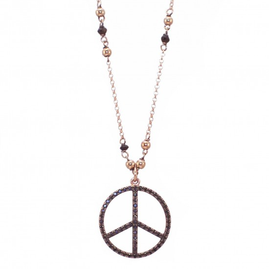 Sterling silver necklace of peace sign with rose gilt and black spinel Length of chain 45-50cm