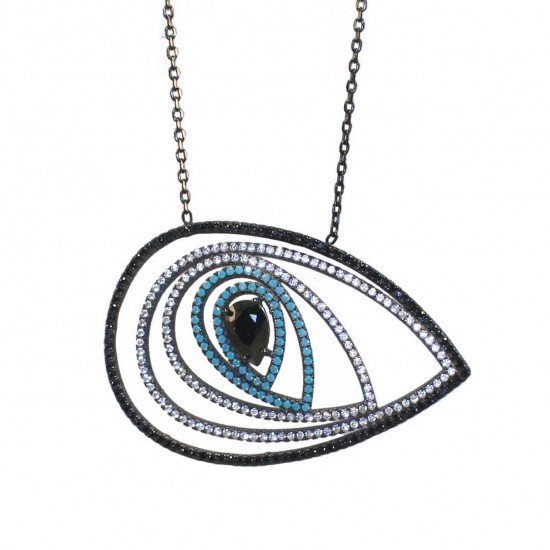 Sterling silver necklace with eye design with black platinum black and white zircon and turquoise Length of chain 55-60cm 104251
