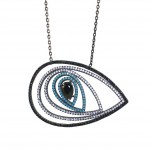 Sterling silver necklace with eye design with black platinum black and white zircon 10425174