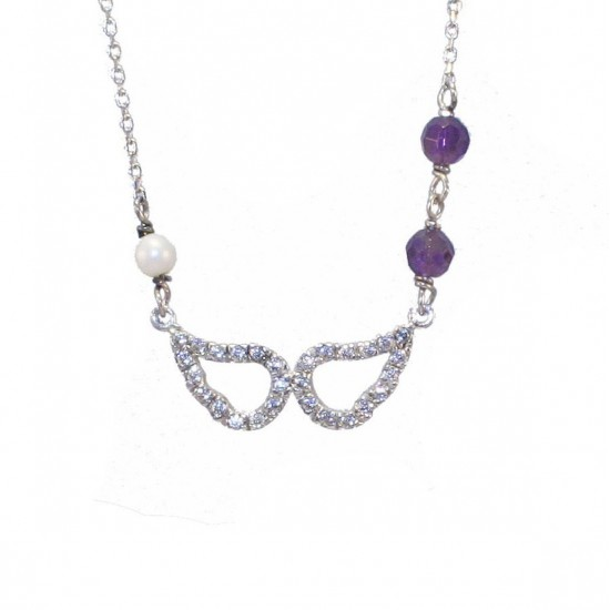 Silver necklace with wings design platinum with white zircon synthetic stones in amethyst color and pearl Chain length 40-45cm