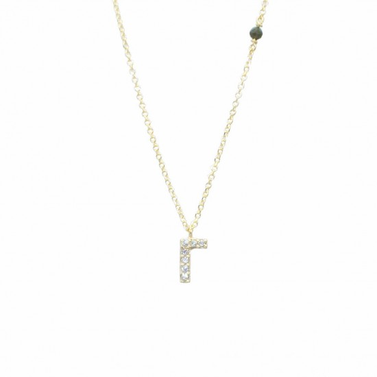Necklace gold K14 monogram the C with white zircon and chain Chain length 40-45cm G1095