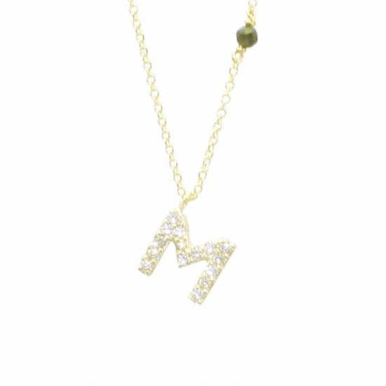 Necklace gold K14 monogram M with white zircon and chain Length of chain 40-45cm M120115
