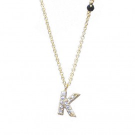 Necklace gold K14 monogram K with white zircon and chain Length of chain 40-45cm K120115
