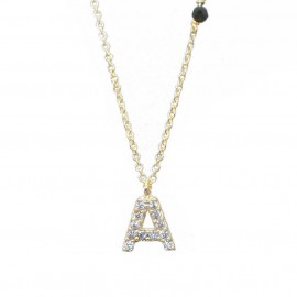 Necklace gold K14 monogram A with white zircon and chain Length of chain 40-45cmA120115