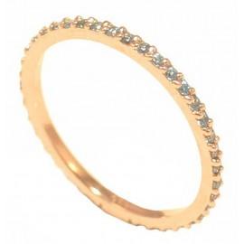 Δαχτυλίδι ροζ χρυσό ολόβερο Κ14 με ζιργκόν σε χρώμα πετρόλ P115115