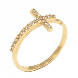 Gold ring with cross design K14 open with white zircon 19152G