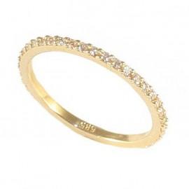 Δαχτυλίδι χρυσό ολόβερο Κ14 με λευκά ζιργκόν G122122
