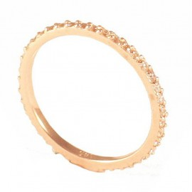 Δαχτυλίδι ροζ χρυσό ολόβερο Κ14 με λευκά ζιργκόν P120120