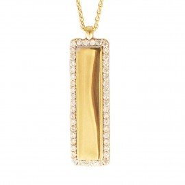 Necklace gold bar K9 with white zircon we can engrave and your name