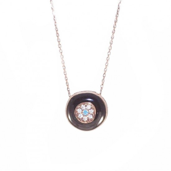 Necklace rose gold K9 with eye pattern with enamel and zircon 19342