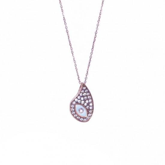 Κολιέ ροζ χρυσό Κ9 με σχέδιο ματάκι με μαύρη πλατίνα λευκά ζιργκόν και σμάλτο Μήκος καδένας 40-45cm