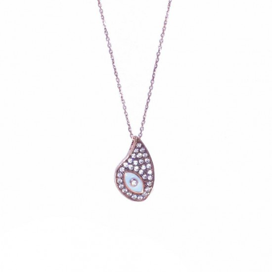 Necklace rose gold K9 with eye design with black platinum white zircon and enamel Chain length 40-45cm