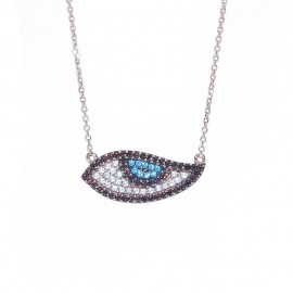 Necklace rose gold K9 with eye design with white blue and black zircon  2752