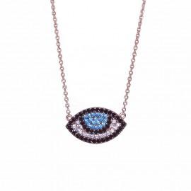 Κολιέ ροζ χρυσό Κ9 με σχέδιο μάτι με λευκά μπλέ και μαύρα ζιργκόν 2439