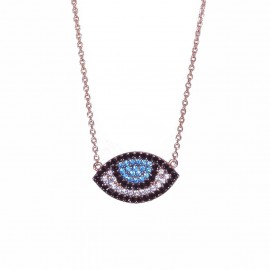 Rose gold K9 necklace with eye pattern with white blue and black zircon 2439