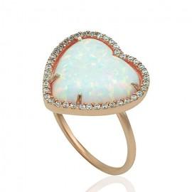 Δαχτυλίδι ροζ χρυσό Κ14 με οπάλιο και λευκά ζιργκόν 19503R