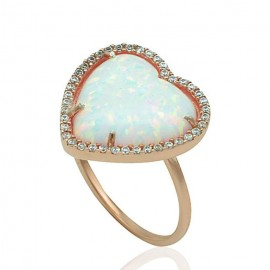 Rose gold ring K14 with opal and white zircon 19503R