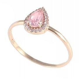 Δαχτυλίδι ροζ χρυσό Κ9 ροζέτα με λευκά ζιργκόν και ροζ πέτρα 11693