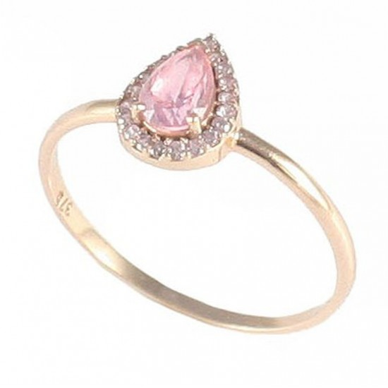 Ring rose gold K9 rosette with white zircon and pink synthetic stone 11693