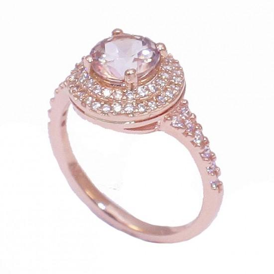 Δαχτυλίδι ροζέτα σε ροζ χρυσό Κ14 με λευκά ζιργκόν και πέτρα σε χρώμα coffee 3867