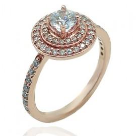 Δαχτυλίδι ροζ χρυσό Κ14 ροζέτα με λευκά ζιργκόν και λευκή πέτρα 16111R