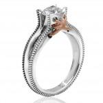 Δαχτυλίδι μονόπετρο λευκόχρυσο Κ14 με λευκό ζιργκόν και σχέδιο με ροζ χρυσό 57211
