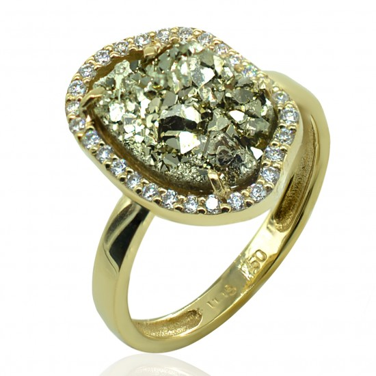 Gold ring K14 with white zircon and mineral stone of iron pyrite 15560