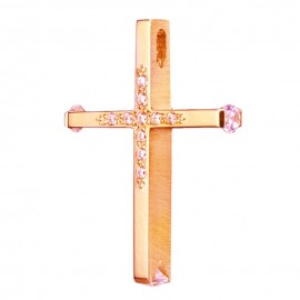 Cross rose gold K14 lacquer and mat on the sides with white zircon for baptism 3546P