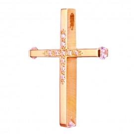 Σταυρός ροζ χρυσός Κ14 λουστραριστός και ματ στις πλευρές με λευκά ζιργκόν για βάπτιση 3546P
