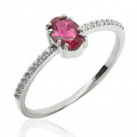 Ring white gold K14 solitaire with ruby and diamonds 19103