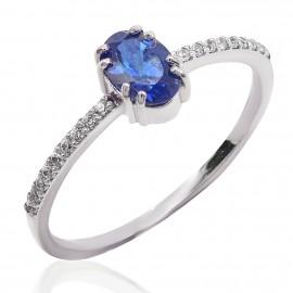 Δαχτυλίδι λευκόχρυσο Κ14 μονόπετρο με ζαφείρι και διαμάντια 19105