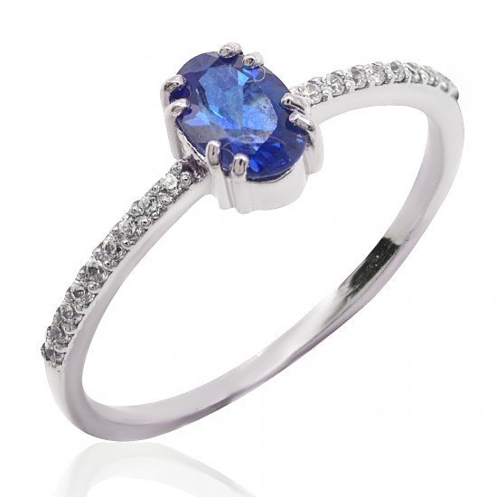 Ring white gold K14 solitaire with sapphire 0.60ct and diamonds 0.10ct color E and purity VVS1  19105