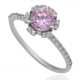 Δαχτυλίδι λευκόχρυσο Κ14 μονόπετρο με ροζ και λευκά ζιργκόν 16135W