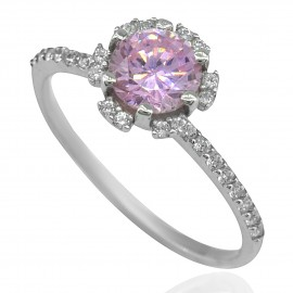 Ring white gold K14 solitaire with pink and white zircon 16135W