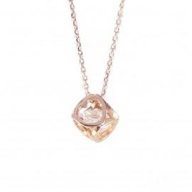 Κολιέ ροζ χρυσό Κ14 κύβος με καρδιές στις πλευρές του με ζιργκόν στην μέση 2220