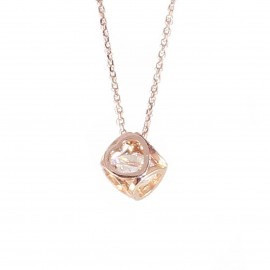 Necklace rose gold K14 cube with hearts on its sides with zircon in the middle 2220