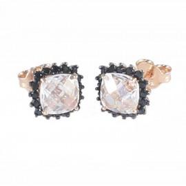 Σκουλαρίκια ροζ χρυσό Κ14 ροζέτες με ροζ και μαύρα ζιργκόν 23519
