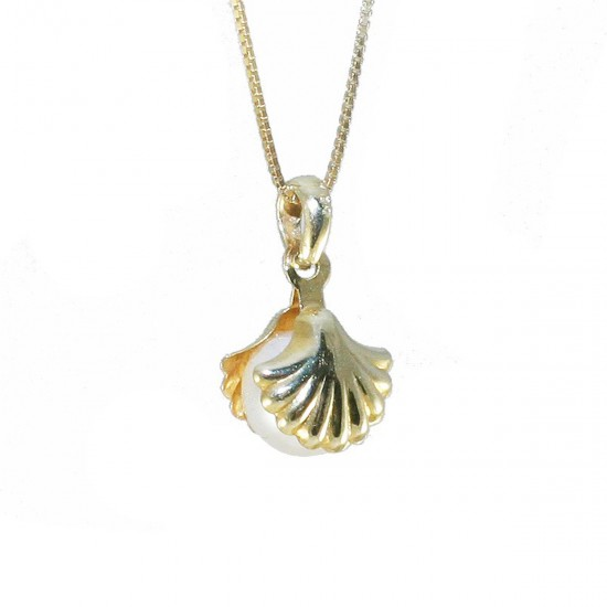 Necklace gold K14 shell with its pearl and chain Chain length 40-45cm 1963