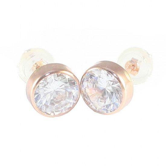 Σκουλαρίκια ροζ χρυσό Κ14 μονόπετρα με λευκά ζιργκόν 1378