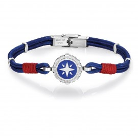 Bracelet with blue cord with compass and red cotton BA1101