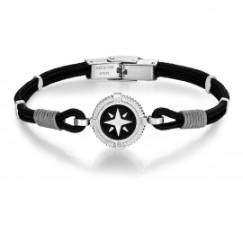 Bracelet with black cord with compass and grey cotton BA1102