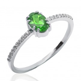 Ring white gold Κ14 with white Diamonds 0, 10ct VVS1/E and Emerald 0.37 ct  19104
